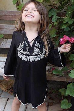 abalulu girls galabia the eye caftan black dresses with embroidery. אבלולו גלבייה של ילדה שחורה עם עין ורקמה לבנה