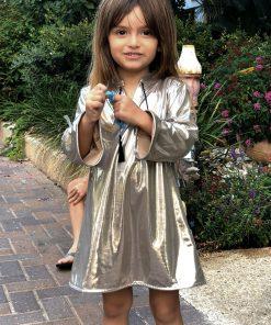 abalulu girls galabia 60's silver caftan dresses silky fabric a line shape . אבלולו שמלת שנות השישים כסופה לילדות