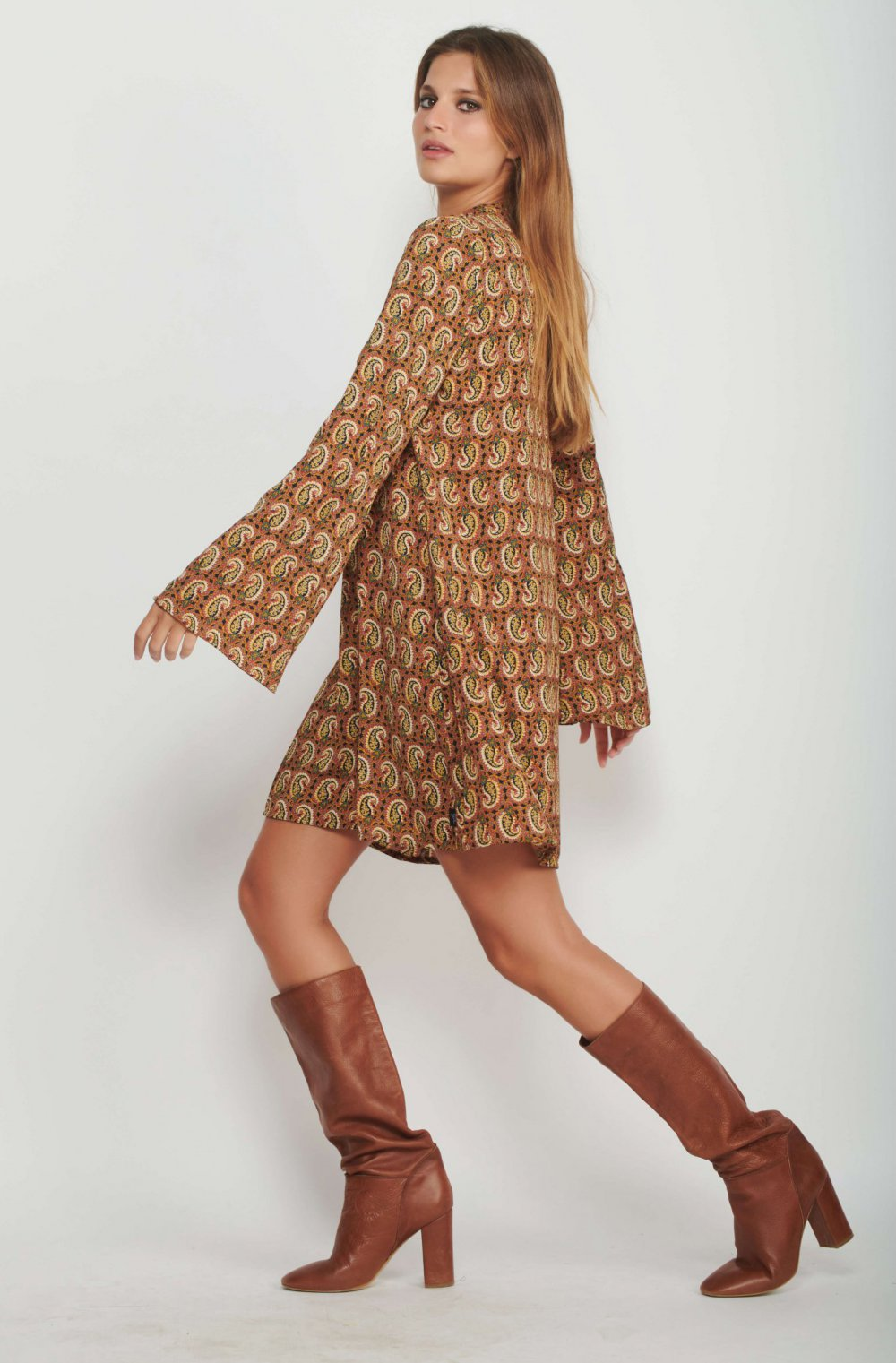 retro paisley dress women