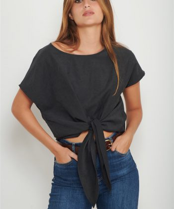 black cupro bow shirt women