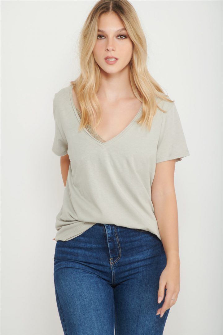 grey v neck shirt women