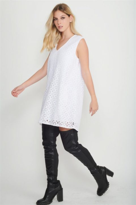 white guipure dress women
