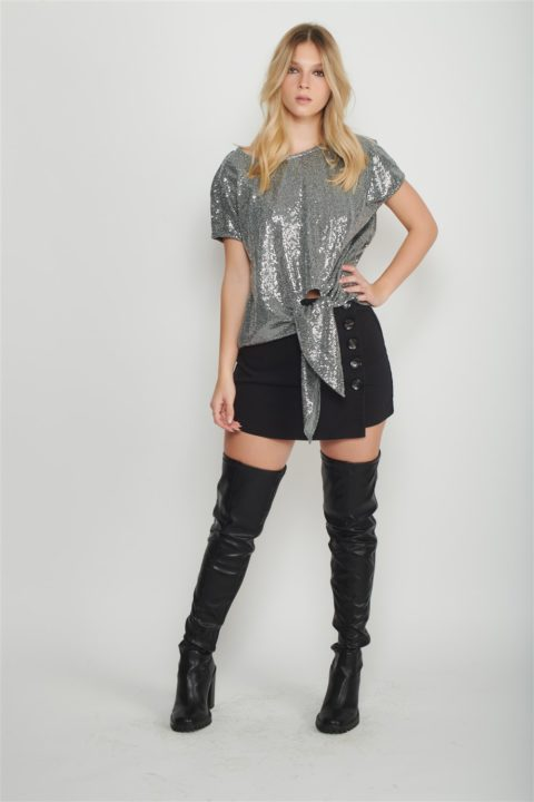 grey cupro bow shirt women