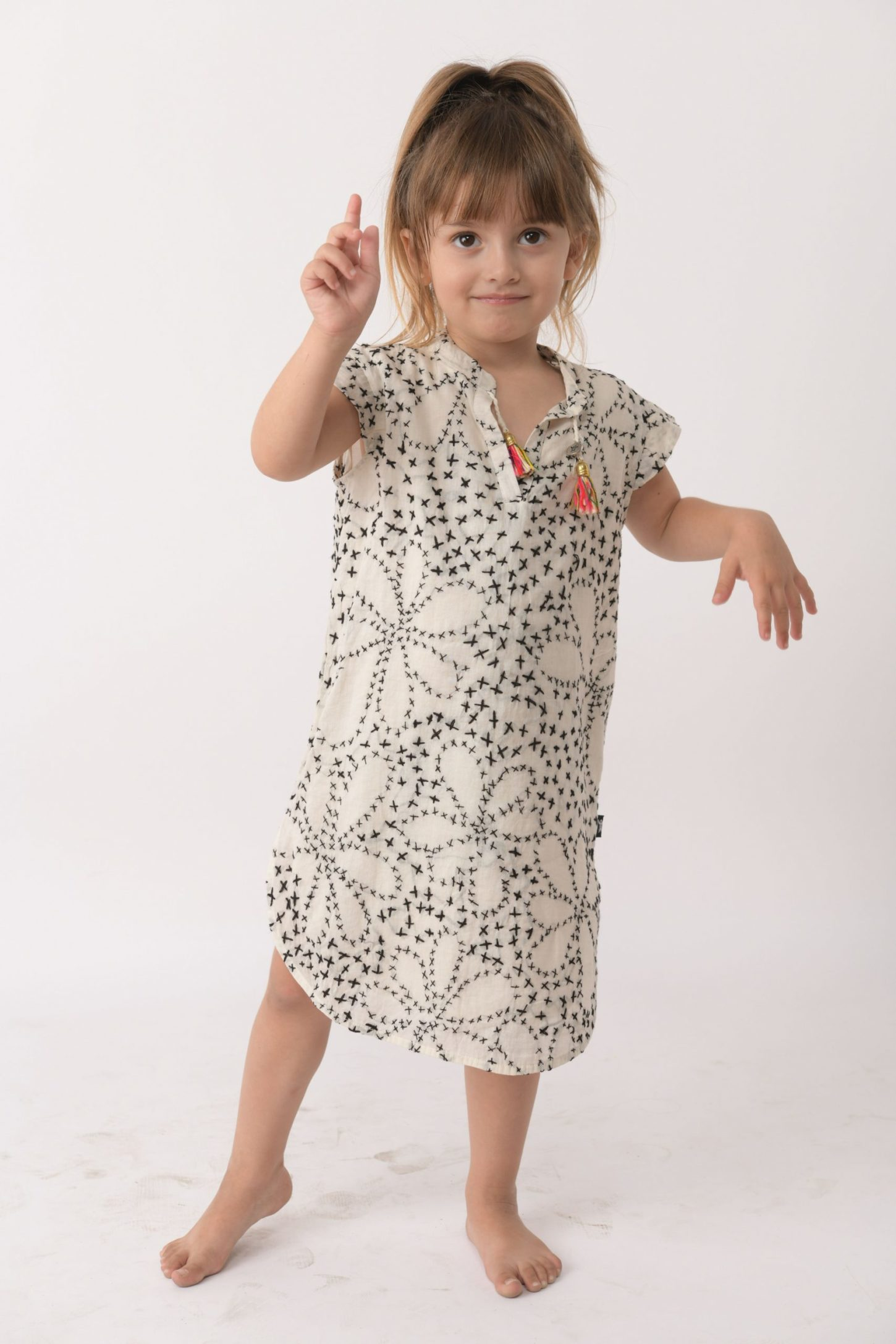 Embroided Flowers Caftan Dress