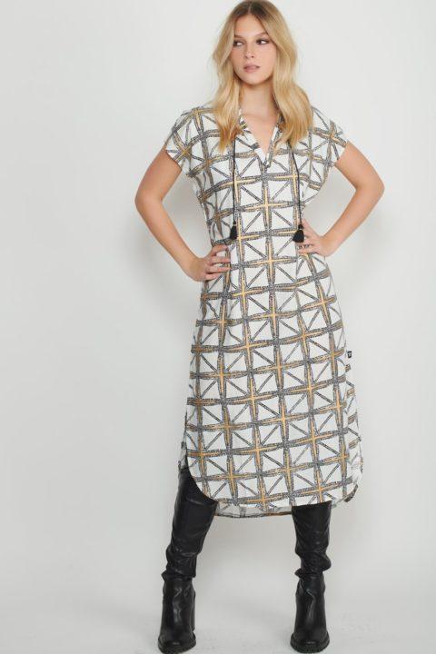 mosaic long caftan dress