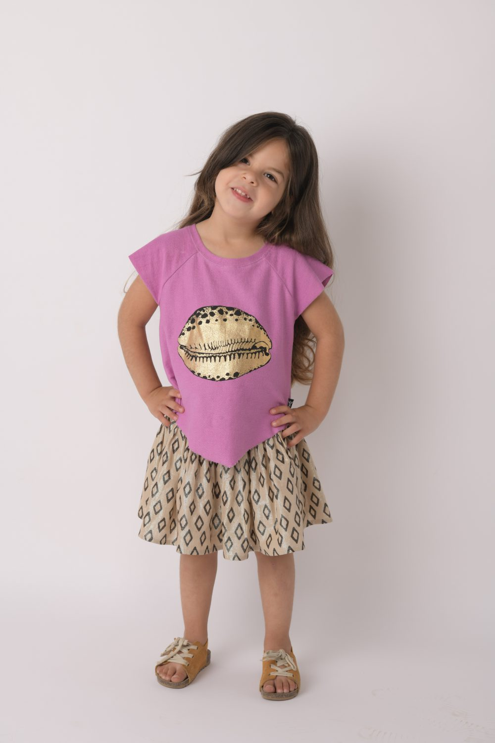 gold cowrie girls shirt