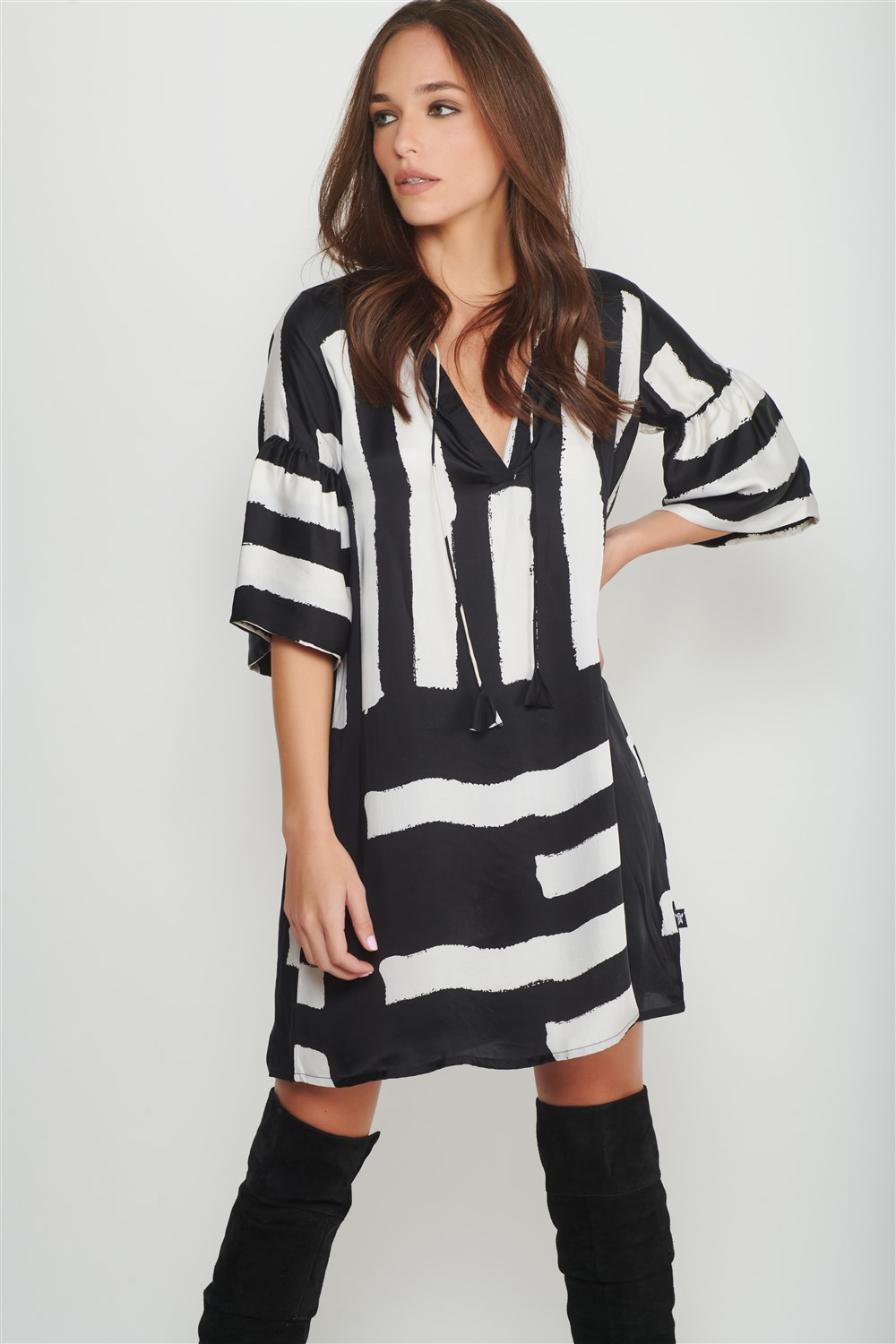 black brush stroke dress women