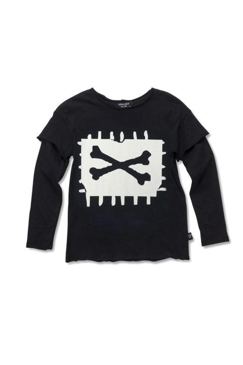 חולצת לילדות X-Bone שחורה ארוכה
