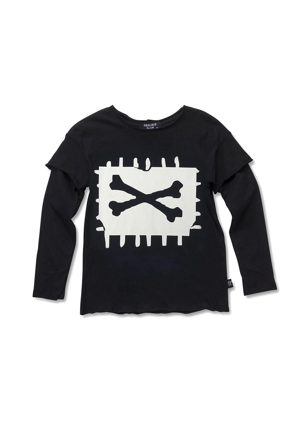 חולצת לילדים X-Bone שחורה ארוכה