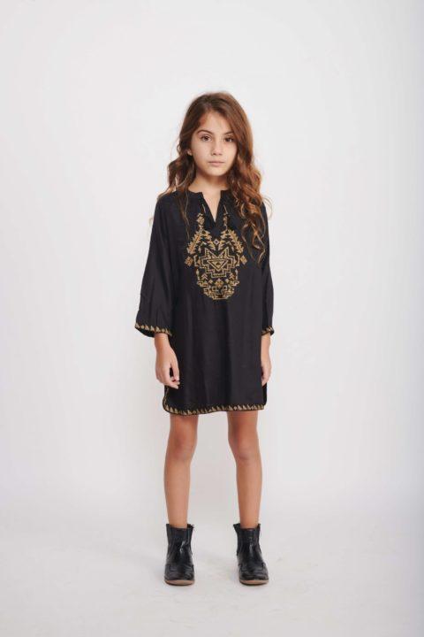 Black Holly Caftan Dress for Girls
