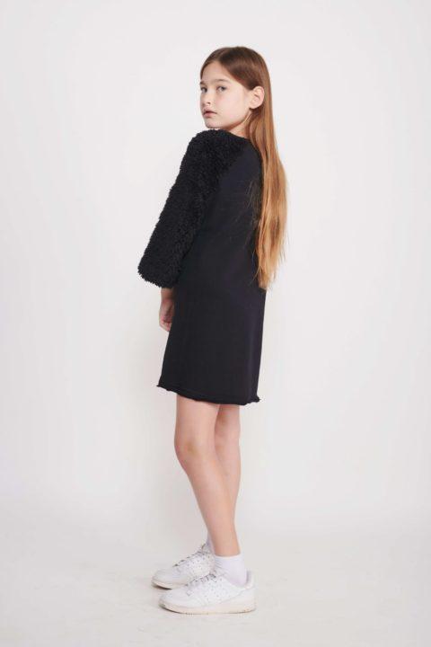 Black A-Line Fur Dress for Girls