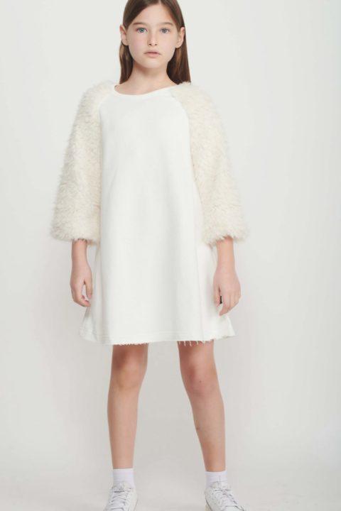 White A-Line Fur Dress for Girls