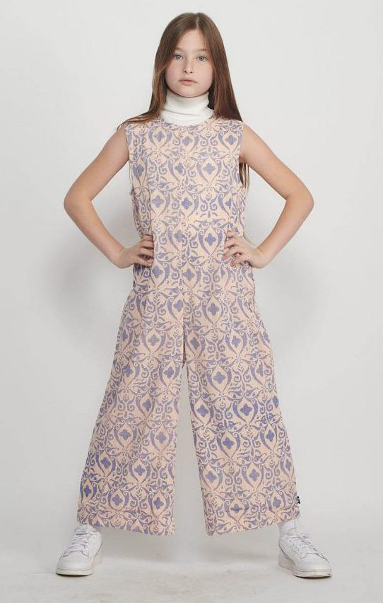 Peach Damask Jumpsuit for Girls