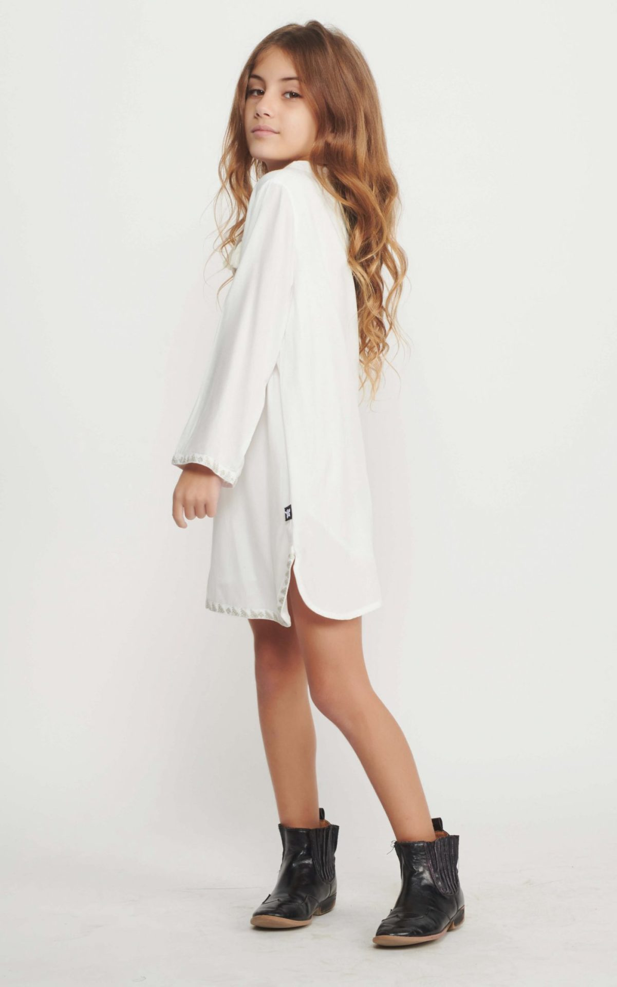 Cream Holly Caftan Dress for Girls