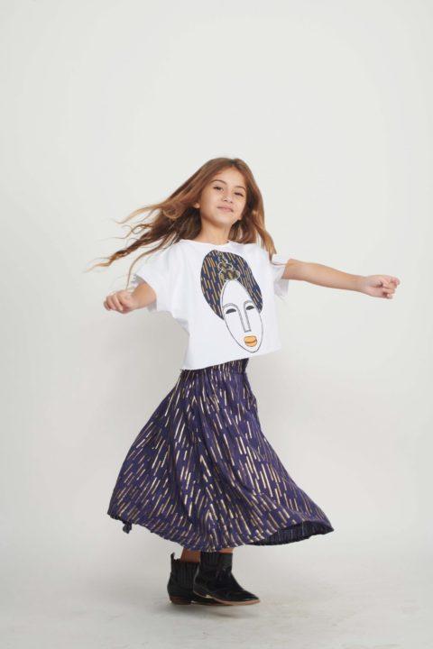Goldi Foil Skirt for Girls