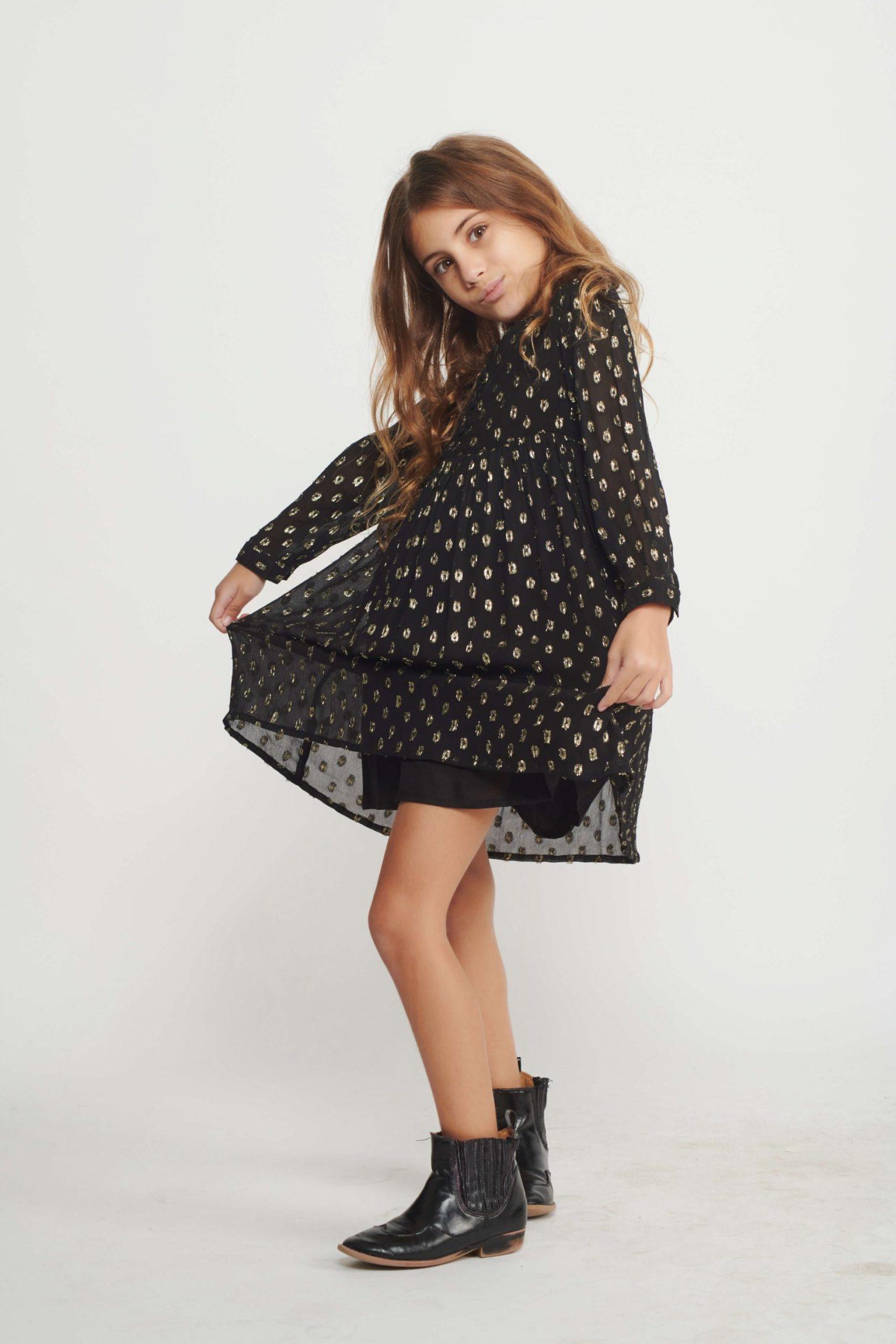 Black Polka Dress for Girls