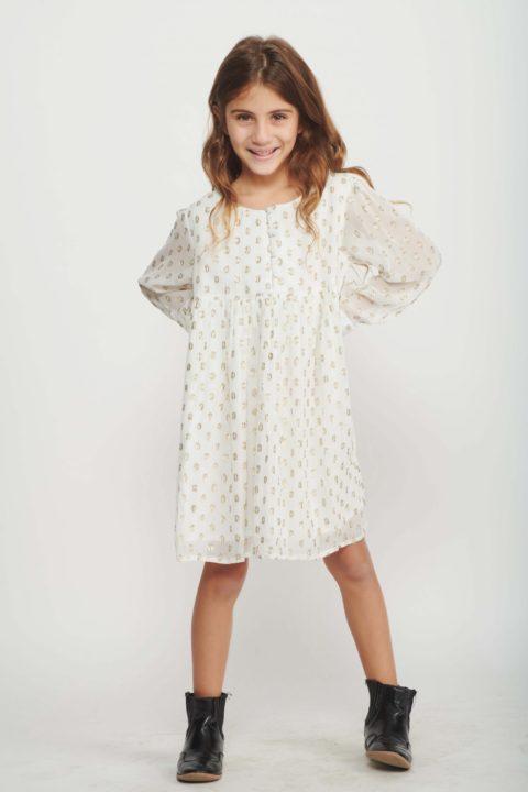 Cream Polka Dress for Girls