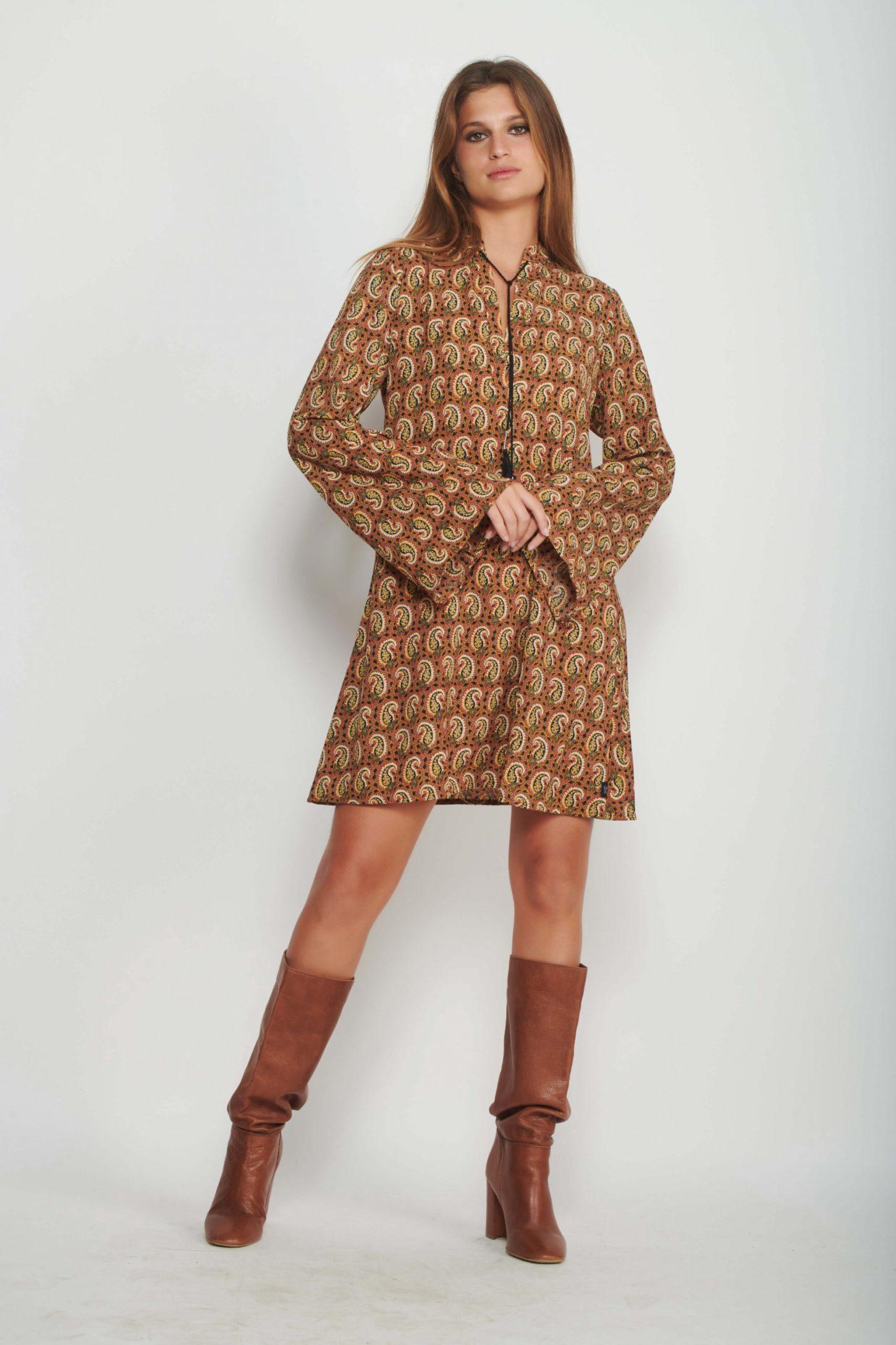 שמלת מידי Retro Paisley לנשים