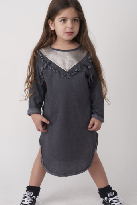 Winter Tribal Dance Dress Solid Gray for Girls