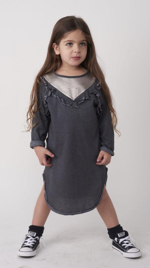שמלה אפורה כהה Winter Tribal Dance לילדות