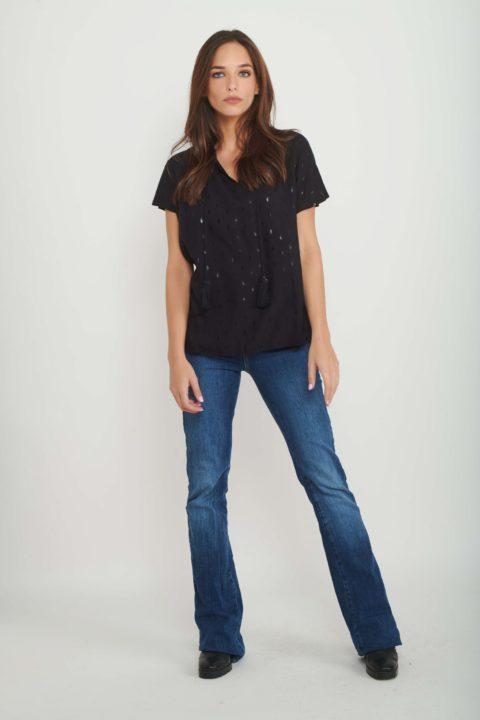Shiny Black Seeds Shirt for Women