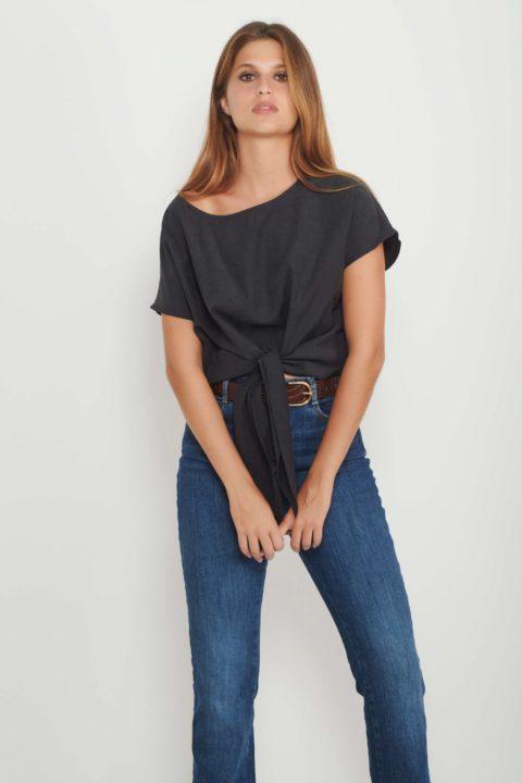 Black Cupro Bow Shirt for Women