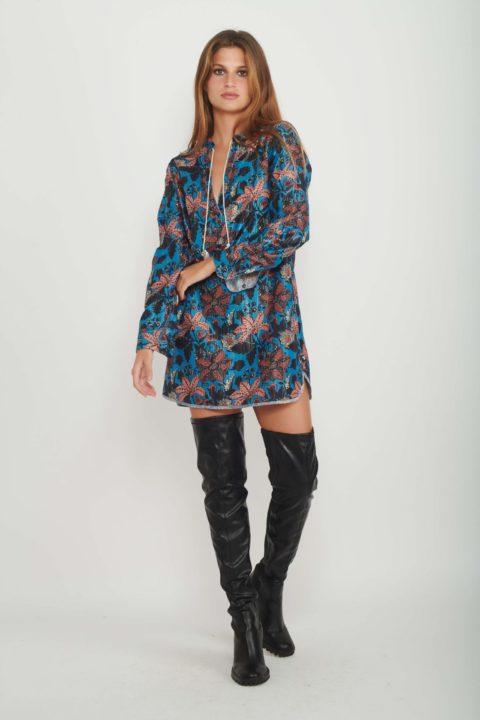 Lurex Flowers Caftan Dress for Women