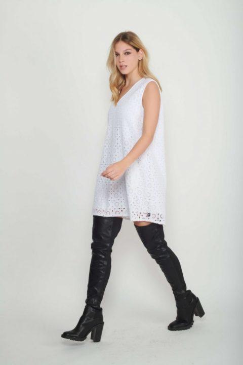 שמלת White Guipure A-Line לנשים