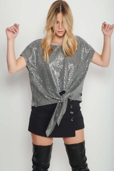 Dark Grey Bow Shirt for Women