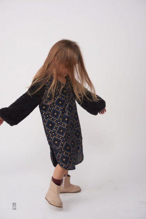 Argyle Fur Caftan Dress for Girls