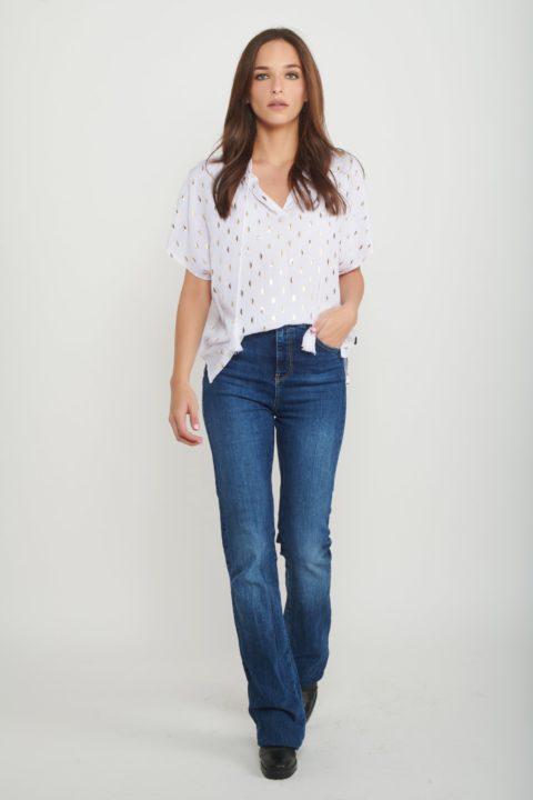 White Golden Shields Shirt for Women