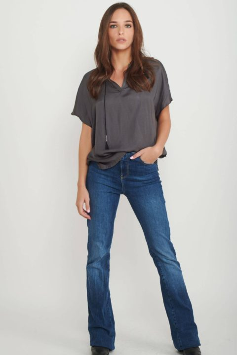 Grey Silk Shirt for Women