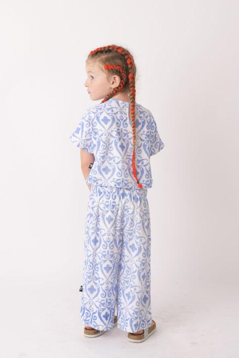 Blue Damask Shirt for Girls
