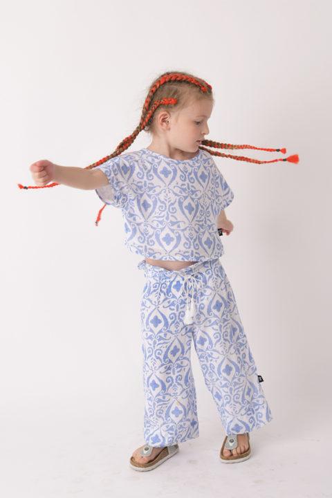 Blue Damask Pants for Girls