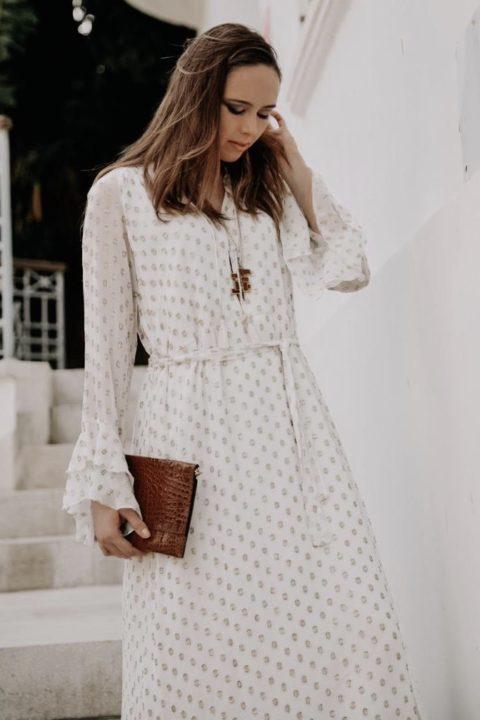 Cream Polka Dress for Women